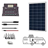 PowerECO 100W 12V Solar Poly Panel RV Kit with 20A PWM Charge Controller/Mounting Brackets/Solar Cables/Cable Entry housing(100W PWM20A)