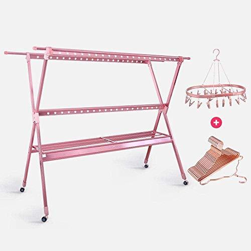 Plegable de Aterrizaje Tendedero Fold Quilt Rack de Cubierta al Aire Libre Balcón Ropa Fresca de los bastidores de Secado Calcetines Perchero Percha Taburete Cambiar Zapatos (Color : Rose Gold)