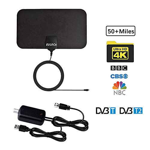 TV Antenna, [2019 Newest] Indoor Digital HDTV Amplified Antennas Freeview 4K 1080P HD VHF UHF for Local Channels 50-80 Miles Range with Amplifier Signal Amplifier Support All TV's [Clear]