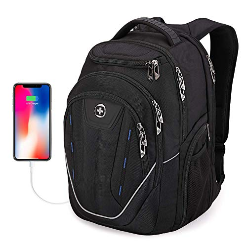 """Swissdigital Terabyte TSA-Friendly Water-Resistant Large Backpack, Business Laptop Backpack for Men with USB Charging Port/RFID Protection Fits up to 15.6"""" Travel Laptop Backpack"""