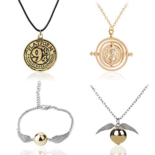 Pendant Necklace - Tomicy 4 Pcs Unisex Harry Potter Golden Snitch Pendant Necklace & Bracelet for Harry Potter Fans as a Gift for Collectors or as Decoration, Creative Gift for Men & Women