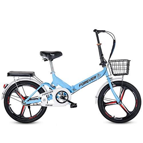LHR Klapprad, 16-zoll-20-zoll-mini-fahrrad Mit Variabler Geschwindigkeit, Kleines Rad, Integrierter Reifen, Geeignet Für Erwachsene Schüler, Jugendliche,3blue,16inch