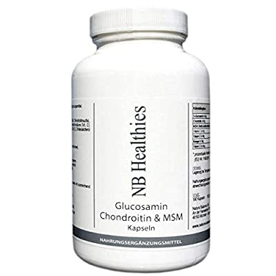 Glucosamin 180 Kapseln 400mg pro Kapsel, Chondroitin 75mg, MSM 50mg, hochdosiert Made in Germany