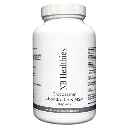 180 Kapseln Glucosamin 400mg pro Kapsel, Chondroitin 75mg, MSM 50mg, hochdosiert Made in Germany