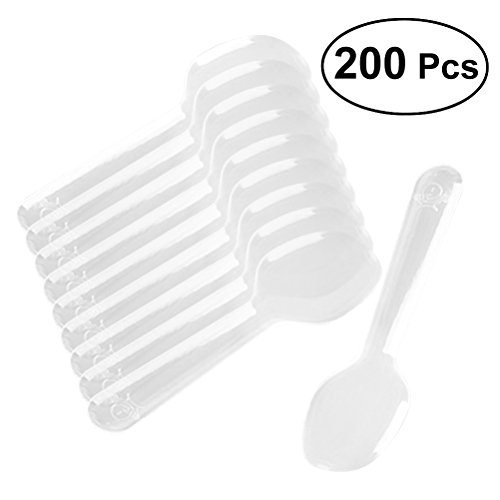 ROSENICE Einweglöffel 200pcs Mini klarer Plastik Besteck Löffel für Jelly Ice Cream Dessert Vorspeise
