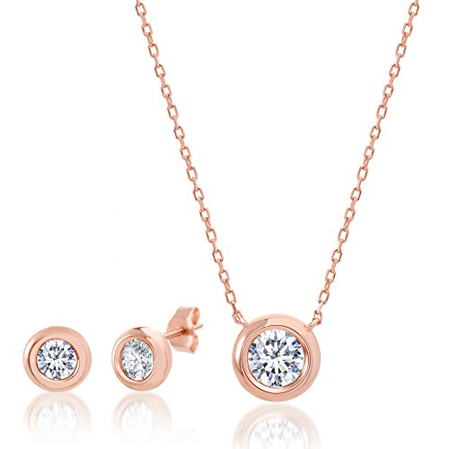 LESA MICHELE Rose Gold Plated Sterling Silver Round Cubic Zirconia Bezel Set Stud Earrings and Pendant Set on 18 Inch...
