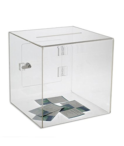 Source One Premium Acrylic Cube Donation Box with Deluxe Rear Open Door and Cam Lock Suggestion Box (12 Inch, Clear)