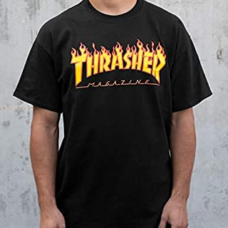 Thrasher Magazine Flameブラックメンズ半袖Tシャツ?–?ミディアム