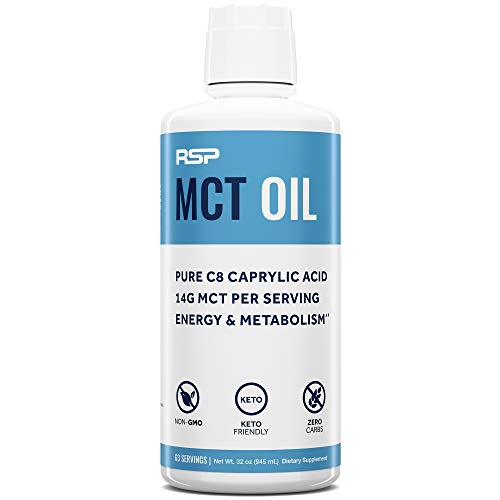 RSP MCT Oil - Premium MCTs from Pure C8 Caprylic Acid, Keto Friendly Supplement for Boosting Energy & Metabolism, Healthy Fats for Coffees, Shakes, Cooking, 14G Per Serving, 32 oz.