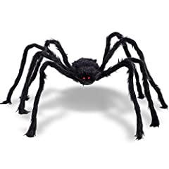 GREAT VALUE: One Giant 6.7 FT (79 Inches Black Spooky Furry Spider. The Spider is Made of Polyester Fiber, which is Safe and Reliable, can Withstand Extreme Weather, Has a Plush Appearance, Very Soft to the Touch. A Must Have for Halloween: Halloween...
