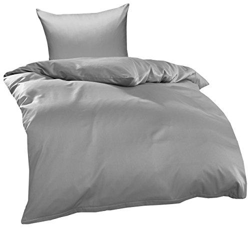 Bettwaesche-mit-Stil Mako Interlock Jersey Bettwäsche Garnitur Uni/enfarbig 100% Baumwolle 135x200 + 80x80 cm, Grau