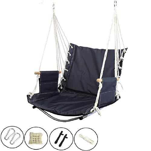 Balançoires YXX Chaise d'hamac de Chambre à Coucher, capacité de 100kg, chaises de suspendues for intérieur/extérieur/terrasse/Patio, 1 Coussin de siège Inclus (Color : Blue)