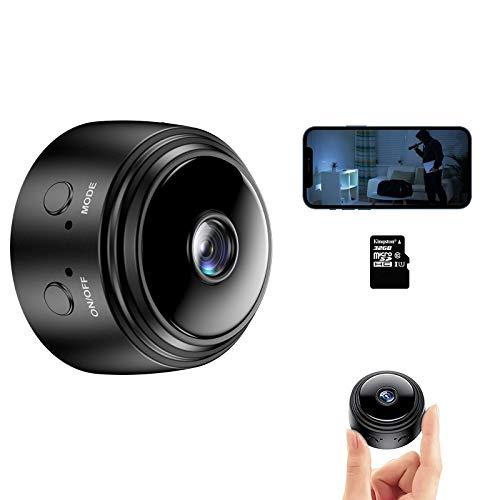 Cámara Espía,1080P HD WiFi Vigilancia Cámara con IR Visión y Grabación en Bucle y Nocturna Detector de Movimiento, Camara Seguridad Pequeña Interior/Exterior(con Tarjeta de 32GB)