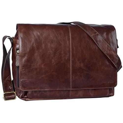 STILORD 'Alex' Borsa da studente in pelle per l'università ufficio lavoro Grande borsa a tracolla vintage Messenger Cartella in cuoio, Colore:marrone - cioccolata