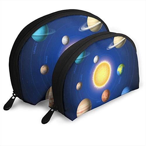 Sonnensystem, das Planeten um Sun personifizierte tragbare Handtasche Shell Shape für Damen-Kosmetik-Speicher zeigt