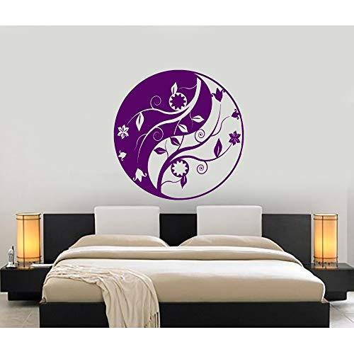 Jixiaosheng Yin Yang Design Mur Vinyle Stickers Muraux Pour Studio Fleur Ornement Home R Art Mural Moderne Amovible Autocollant57 * 57Cm