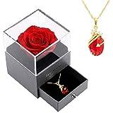 Flor Real Preservada con Collar Caja de Regalo, Rosa Eterna para el Día de la Madre, Día de San Valentín, Aniversario, Regalos para Mamá