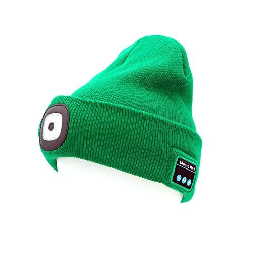 MAMOWEAR Beanie Light with Bluetooth Hat, Built-in Stereo Speakers & Mic, Bright Hands-Free Hat Light USB Rechargeable MAMOWEAR Flashlight Headlamp Winter Knit Cap for Men, Women (Dark green)
