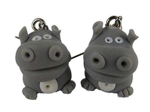 Ohrringe Ohrhänger Hänger handgemacht grau Nilpferd Flußpferd Hippo 8636