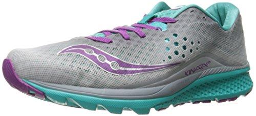 Saucony Women's Kinvara 8 Running Shoe, Grey/Teal/Purple, 6 M US