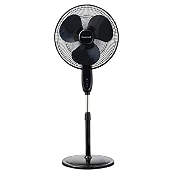 Honeywell Double Blade 16 Pedestal Fan Black With Remote Control Oscillation Auto-Off & 3 Power Settings