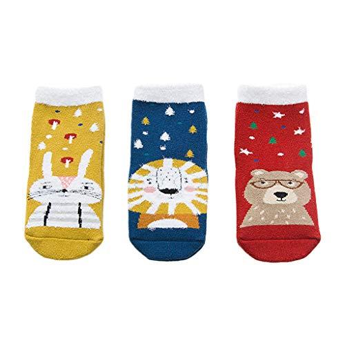 Eliky 3 paar kleine kinderen handdoek crew sokken cartoon kerst dier winter kousenwaren Small 5