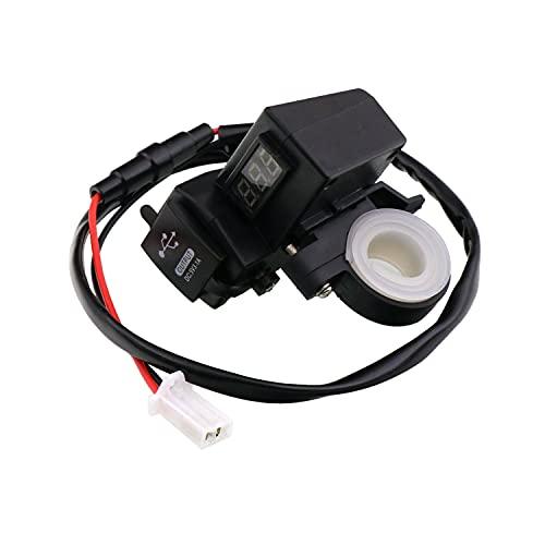 Varadyle Cargador USB Dual Impermeable para Motocicleta 5V 3.1a y VoltíMetro de Pantalla de Voltaje Azul para Montaje en Manillar de 7/8 y 1 Pulgada