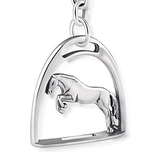 STERLL Herren Schlüssel-Anhänger Pferd Steigbügel Silber 925 Oxidiert Schmuck-Beutel Geschenke für Männer