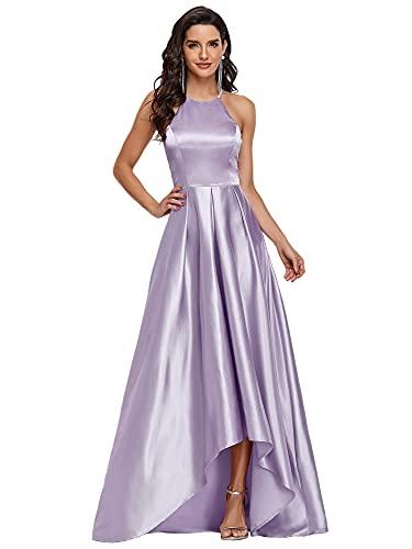 Ever-Pretty Vestido de Fiesta Asimétrico Largo para Mujer A-línea Escote Halter sin Mangas Alto Bajo Lavanda 38