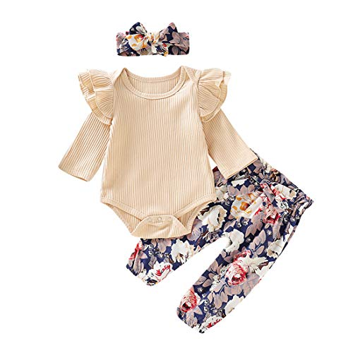 heavKin-Clothes 0-18 Months Toddler Baby Kids Girls Ruffles Solid Color Romper Jumpsuit +Floral Pants+Headband Outfits Suit (Beige, 12-18 Months)