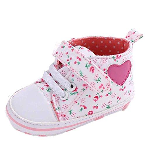 kingko® Chaussures Fille Toile Bébés garçons Chaussures Sneaker anti-dérapant souple Sole Toddler adapté pour 0-18 mois bébé (12~18 Mois, blanc)