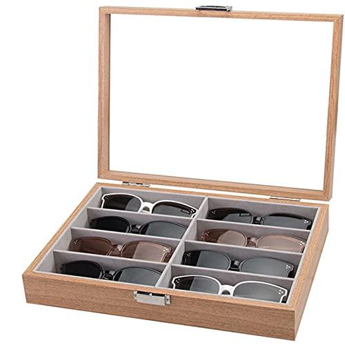Caja de Almacenamiento para la Gafas , Caja organizadora de gafas de sol de madera 8 Slots Gafas de almacenamiento Mostrar caja de lectura Gafas Titular de gafas para presentación con cerradura Guarda