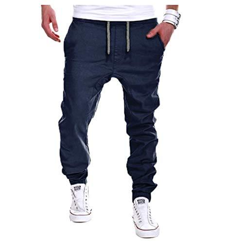 Pantalones Casuales para Hombre Color Puro Cintura elástica con cordón Moda Hip-Hop Pantalones de Sarga Ejercicio Fitness Pantalones de Senderismo al Aire Libre