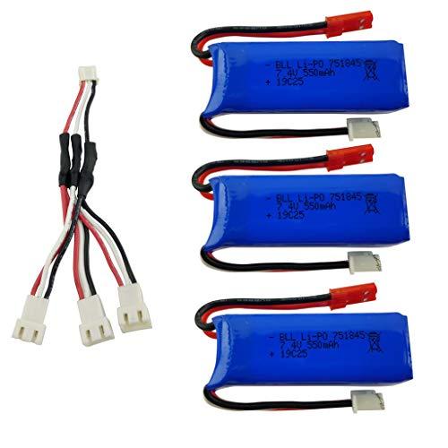 ZYGY 3PCS 7.4V 550mAh Alta Velocidad lipo batería y 3en1 línea de conversión para wltoys K969 K979 K989 K999 P929 P939 Coche de Control Remoto de Alta Velocidad