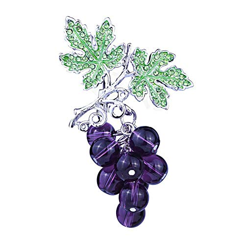 Bodhi200 0 elegantes broches de uva de diamantes de imitación para las mujeres de la moda de la fruta de los alfileres de diseño de la joyería