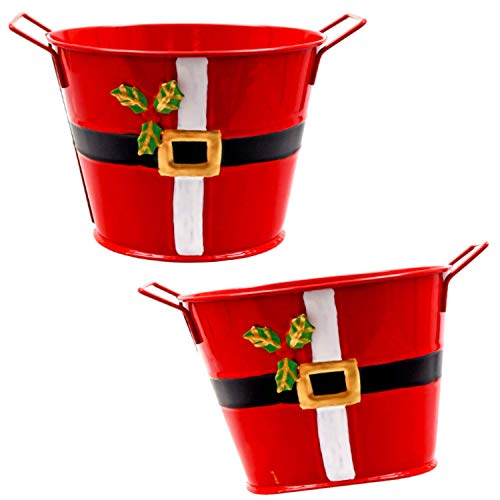 TopNotch Outlet Christmas Decor - Storage Pails (2 Pc) Small Red Painted Santa Buckets with Handles - Create Lovely Baskets - Add Party Favors - Metal Planters