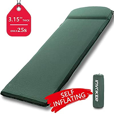INVOKER Camping Sleeping pad – 3inch UltraThick Memory Foam Self Inflating Camping Mat with Pillow Fast Inflating in 25s for Backpacking Traveling and Hiking Air Mattress – Lightweight Camp Sleep Pad