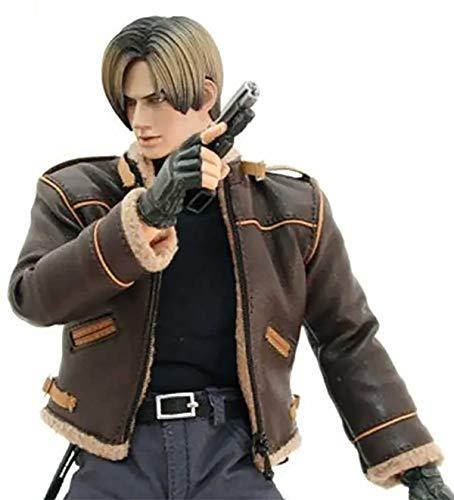 EU Fashions Resident Evil 4 Leon Kennedy Shearling Brown Giacca in vera pelle Marrone - Resident Evil Bomber Giacca Uomo XXXL