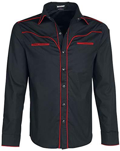 Banned Trim Hemd schwarz/rot, Schwarz, 3XL