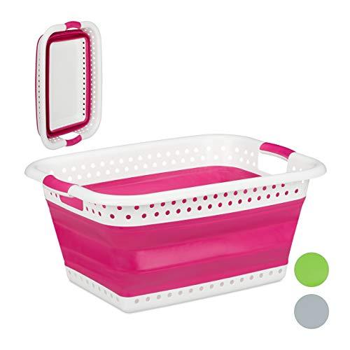 Relaxdays Faltbarer Wäschekorb, Griffe, Kunststoff & Silikon, platzsparende Wäschewanne, stabil, HBT 27x61x45,5 cm, pink