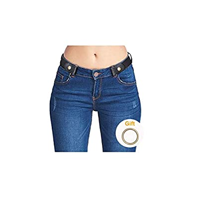 No Buckle Stretch Belts for Men and Women Black, Invisible Belts for Jeans Pants