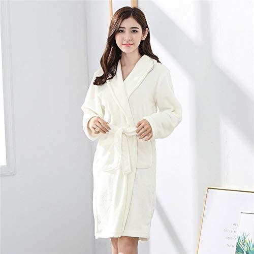 ASADVE Bata Familiar de Color Puro Pijamas de Lana Coral Ropa Interior para Hombres y Mujeres Vestido de Albornoz Kimono-F_SG
