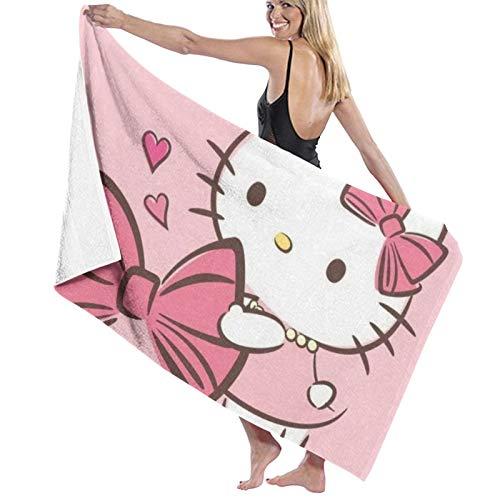 Custom made Hello Kitty - Toallas de baño unisex de lujo, toallas de playa suaves para piscina/natación, toalla de microfibra absorbente y ligera