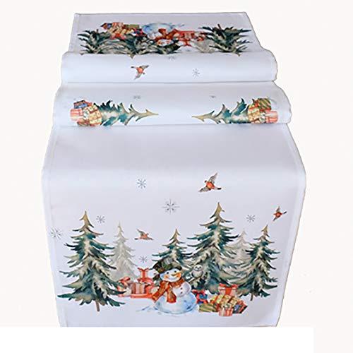 Kamaca Serie Schneemann mit Geschenken hochwertiges Druck-Motiv - Eyecatcher Herbst Winter (Tischläufer 40x140 cm)