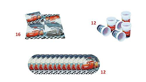 ALMACENESADAN 1083, Pack Desechables Maxi Disney Cars para Fiestas y cumpleaños, 16 servilletas, 12 Vasos y 12 Platos (40 Piezas).