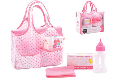 Smart Planet® Puppenwickeltasche - Wickeltasche für Puppen mit Zubehör - Puppenspielzeug - Puppenzubehör - 6-teiliges Spielzeug Set - rosa / weiß
