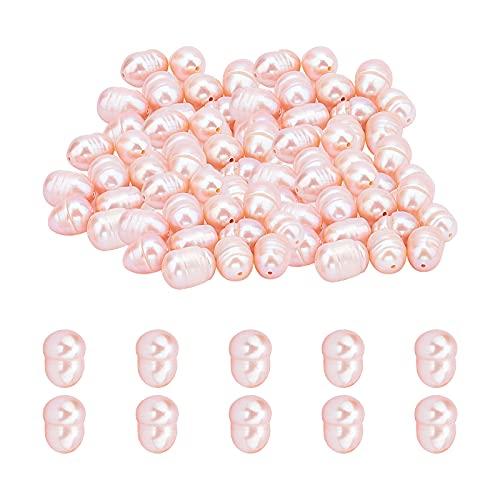 SUPERFINDINGS 100PCS Perlas de Agua Dulce Cultivadas Naturales Ovaladas Perlas de Color Marrón Rosado Perlas Sueltas Perlas de Perlas de 7~13 mm para Hacer Joyas Suministros de Artesanía