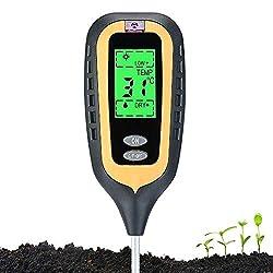 Morthan 2019 Neu 4 in 1 Bodentester Boden test Bodenmessgerät Bodenfeuchtigkeitsmessgerät Boden PH-Wert Temperatur Luftfeuchtigkeit Sonnenlicht für innenbereich/Außenbereich Wasser Licht Test