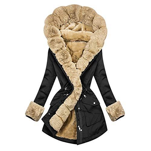 XOXSION - Giacca invernale da donna, calda giacca invernale con cappuccio e tasche, cappotto trapuntato in peluche, calda giacca invernale da donna con cordino elastico B-nero S