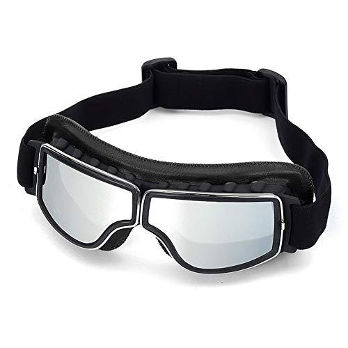 Gafas de Moto Retro Vintage Gafas de protección UV Cafe Racer Flying Eyewear Gafas Gafas de protección (Color : Silver)